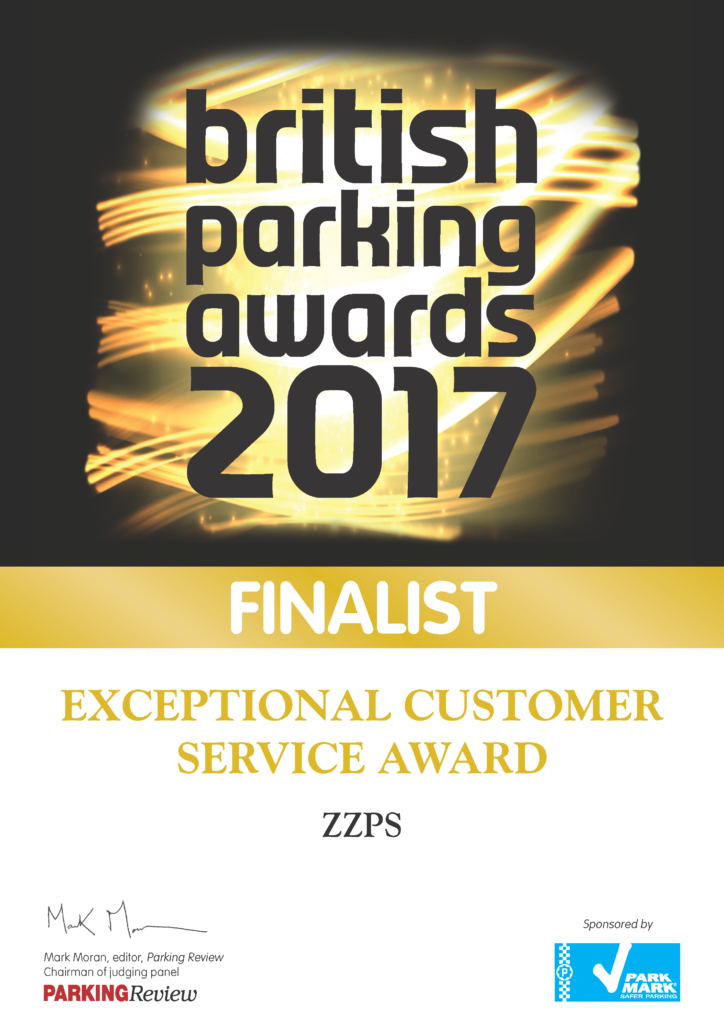 Finalist, British Parking Awards 2017, Exceptional Customer Service Award